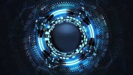 powerful: abstract blue powerful technology design vision, background 3D illustration with empty black middle