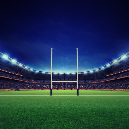 modern rugby stadium with fans and green grass, sport theme three dimensional render illustration