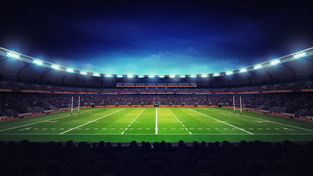 spectators: illuminated modern rugby stadium with spectators and green grass, sport theme three dimensional render illustration