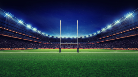 huge rugby stadium with fans and green grass, sport theme three dimensional render illustration Banco de Imagens