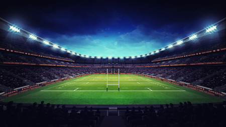 spectators: illuminated rugby stadium with spectators and green grass, sport theme three dimensional render illustration Stock Photo