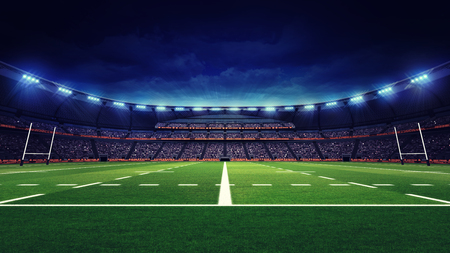 팬들과 녹색 잔디 놀이터, 스포츠 테마 럭비 경기장 3 차원 렌더링 그림
