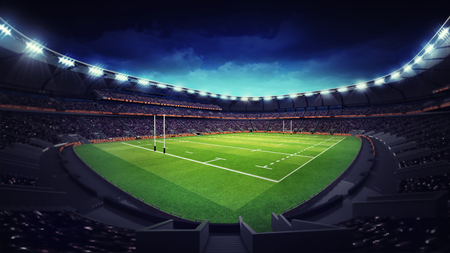 star field: modern rugby stadium with fans at corner view, sport theme three dimensional render illustration Stock Photo