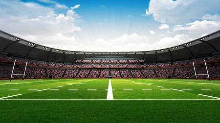 the fans: rugby stadium with fans and green grass at daylight, sport theme three dimensional render illustration