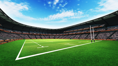 the fans: rugby stadium with fans and grass pitch at daylight, sport theme three dimensional render illustration Stock Photo