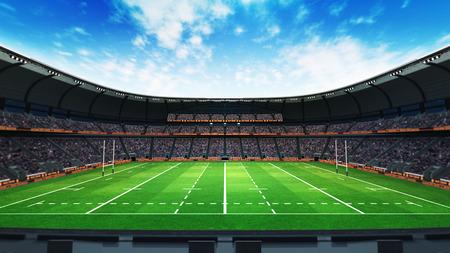 팬들과 일광, 스포츠 테마에 녹색 잔디 럭비 경기장 3 차원 렌더링 그림 스톡 콘텐츠