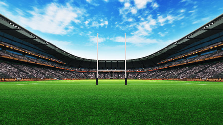rugby stadium building with green grass at daylight, sport theme three dimensional render illustration Фото со стока
