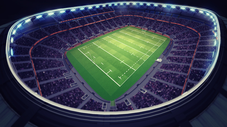 the fans: amazing rugby stadium with fans under roof, sport theme three dimensional render illustration