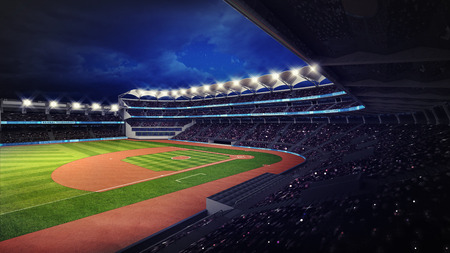 outfield: baseball stadium with fans under roof tribune view, sport theme 3D illustration Stock Photo