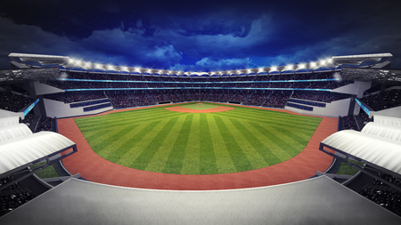 outfield: amazing baseball stadium with fans under roof, sport theme 3D illustration