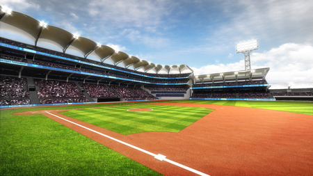 outfield: sunny baseball stadium with fans at daylight, sport theme 3D illustration