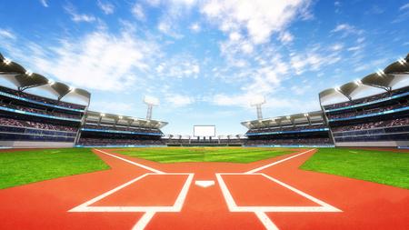 野球スタジアム遊び場と青い曇り空、スポーツ テーマ 3 D イラスト