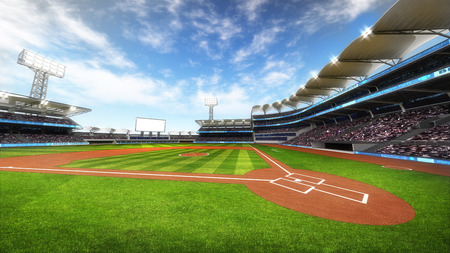 outfield: baseball stadium with fans at sunny weather, sport theme 3D illustration