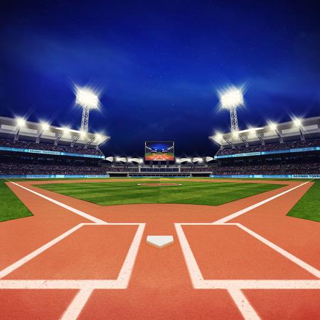 modern baseball stadium with fans and green grass, sport theme 3D illustration