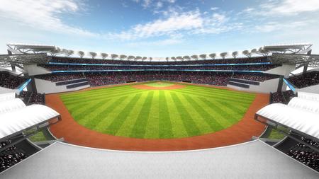 スポーツ テーマ 3 D イラスト、日光の下でファンと素晴らしい球場 写真素材