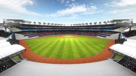amazing baseball stadium with fans at daylight, sport theme 3D illustration