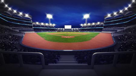 spectators: general baseball arena view with spectators, sport theme 3D illustration