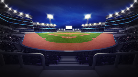 general baseball arena view with spectators, sport theme 3D illustration