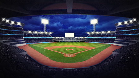 outfield: baseball stadium under roof view with fans, sport theme 3D illustration