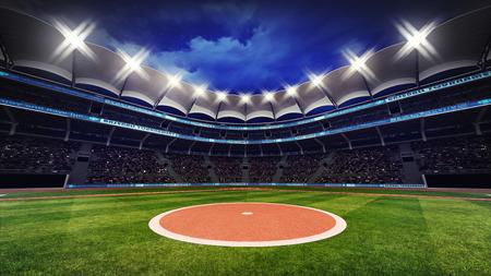 スポット ライト、スポーツ テーマ 3 D イラストで屋根の下でファンと野球場