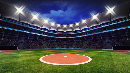 baseball stadium with fans under roof with spotlights, sport theme 3D illustration