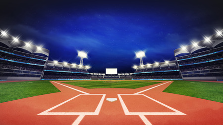 modern baseball stadium pitch with fans and green grass, sport theme 3D illustration Фото со стока