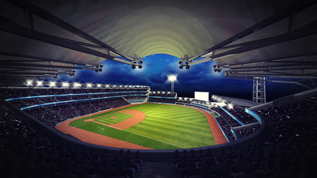 outfield: baseball stadium under roof view with spectators, sport theme 3D illustration