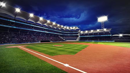 illuminated baseball stadium with spectators and green grass, sport theme 3D illustration
