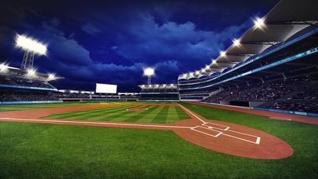 illuminated modern baseball stadium with spectators and green grass, sport theme 3D illustration Archivio Fotografico