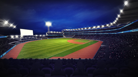 outfield: modern baseball stadium with fans at corner view, sport theme 3D illustration