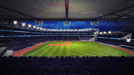 outfield: baseball stadium under tribune view with spectators, sport theme 3D illustration
