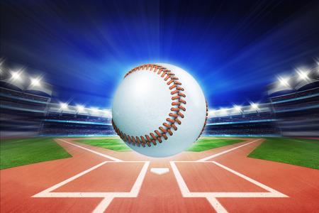 baseball ball with baseball stadium in motion blur, sport theme 3D illustration