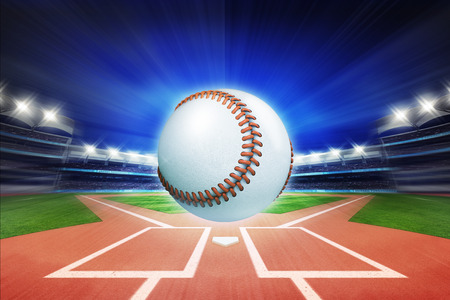 baseball ball with baseball stadium in motion blur, sport theme 3D illustration