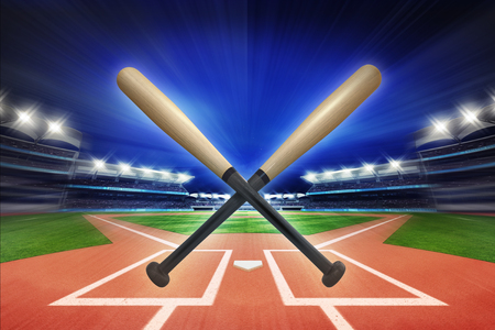 fast pitch: baseball wooden bats with baseball stadium in motion blur, sport theme 3D illustration