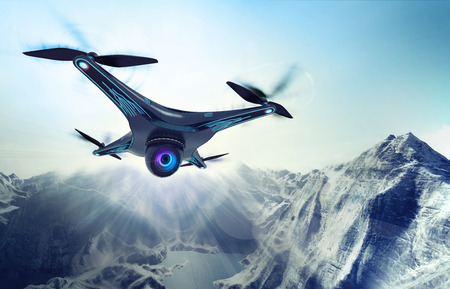 rocky mountains: camera drone flying over glacier rocky mountains, futuristic black drone nature exploration 3D illustration Stock Photo
