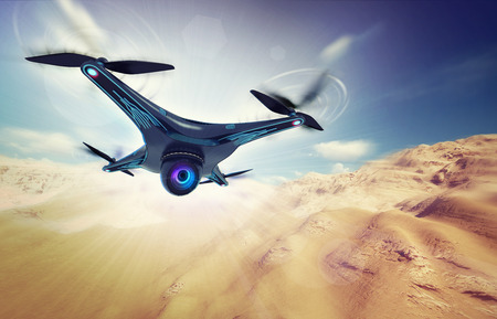 camera drone flying over dry desert, futuristic black drone nature exploration 3D illustration