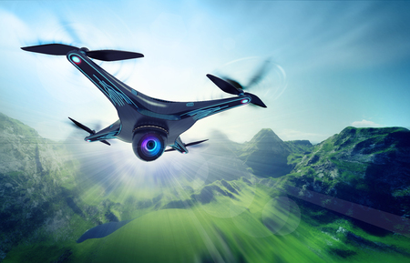 futuristic nature: camera drone flying over jungle hills, futuristic black drone nature exploration 3D illustration Stock Photo