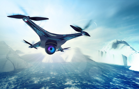 camera drone flying over arctic sea, futuristic black drone nature exploration 3D illustration