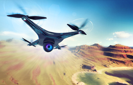 exploration: camera drone flying over dry mountain coast, futuristic black drone nature exploration 3D illustration Stock Photo