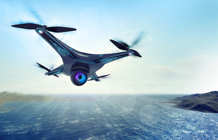 futuristic nature: camera drone flying over sea water, futuristic black drone nature exploration 3D illustration