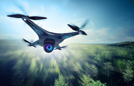 futuristic nature: camera drone flying over green woods, futuristic black drone nature exploration 3D illustration