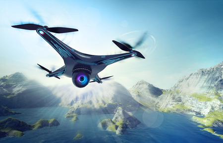 exploration: camera drone flying over lake with mountains, futuristic black drone nature exploration 3D illustration