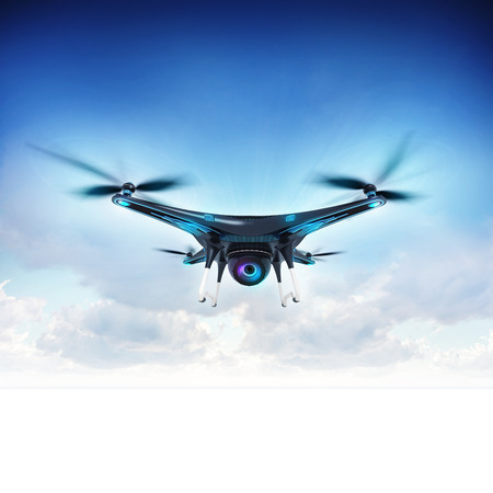 modern camera drone in flight with blue sky background, front view of the futuristic black drone concept 3D illustration