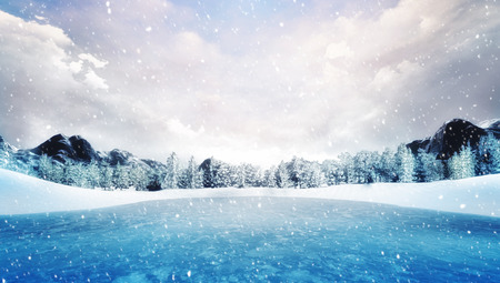 frozen lake in winter mountain landscape at snowfall, natural park with forest and mountains covered under snow 3D illustration