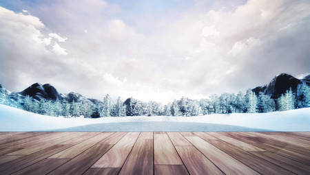 chillout: wooden chillout terrace in winter mountain landscape, natural park with forest and mountains covered under snow 3D illustration