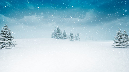 snow covered winter landscape at snowfall, several trees covered under snow 3D illustration
