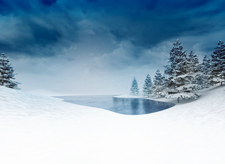 frozen pound with trees and cloudy sky, winter season lake scenery 3D illustration Stock Photo