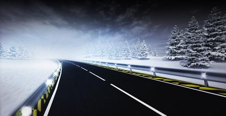freeway leading through calm winter landscape, seasonal winter transportation topic 3D illustration Stock Photo