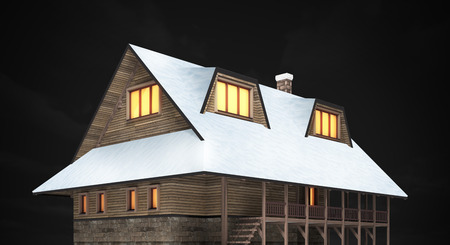 chalet: wooden mountain chalet at night, isolated 3D building illustration on black