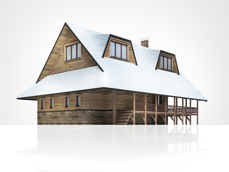 chalet: wooden mountain chalet with snowy roof, isolated 3D building illustration on white